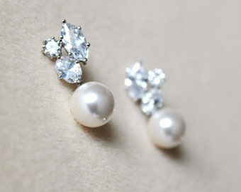 Pearl Bridal Earrings Pearl Wedding Jewelry White Ivory Cream Swarovski Crystal Pearl Earrings Bridesmaid Earrings Bridesmaid Gift Jewelry