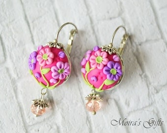 Pink romantic earrings - Delicate pink & violet flowers on magenta - Polymer clay jewelry - Summer gift - Romantic Jewelry