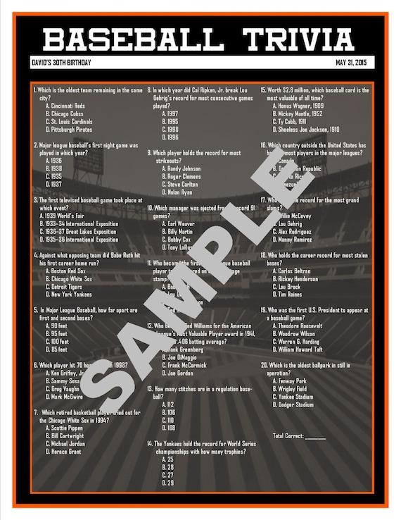 Baseball Trivia Printable GameCustom Digital File for