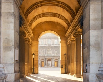 Paris photography, arcade, orange, covered passage, Paris architecture, French wall art, Paris decor, home decor, fine art print
