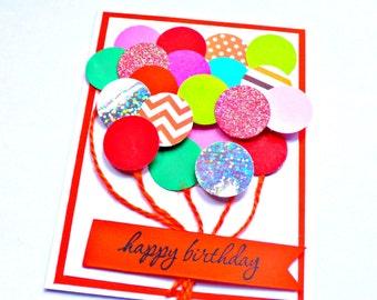 Kids Birthday Card, Birthday Card, Girl Birthday, balloon Birthday card, friend Birthday card, girlfriend Birthday, birthday card for girls