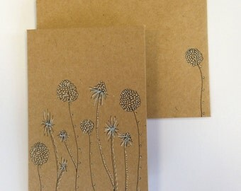 Set of 4 Mini 'Dahlia' Notelets with matching envelopes (A7)