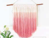 Handmade Ombré Wall Hanging - Coral to Red/Pink