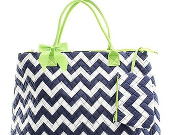 Chevron Print Monogrammed Large Tote Bag, Overnight Bag, Carry on Bag Navy Blue and White with Neon Green Trim