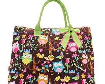 Owl Print Monogrammed Large Tote Bag, Overnight Bag, Carry on Bag Neon Green Trim
