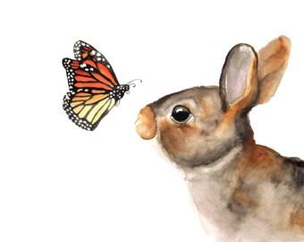 Watercolor Bunny- art print nursery art watercolor rabbit woodland children's art animal art animal watercolor brown black 5x7+