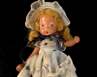 Nancy Ann Dolls, Story Book Doll, Little Miss Muffet, Mother Goose Series, #118, Made in USA, 1940's, Bisque Collectible Doll
