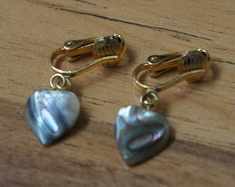Jewelry Vintage Earrings  Clip On  Design ,Heart, Shell,Drop Part, Gold L-019