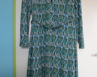Vintage long sleeved dress with flower decor in green and blue, size XL