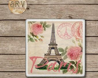 ON SALE Paris Drink Coaster,  Shabby Chic Ceramic Tiles, Housewarming Gift, Wedding, Pink Roses on Vintage Postcard, Eiffel Tower, Made To O