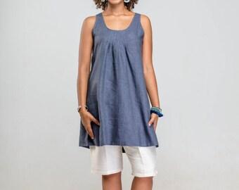 denim blue linen top