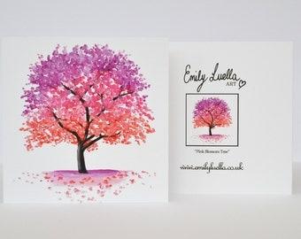 """Fine Art Greeting Card - Pink Tree 5"""" x 5"""""""
