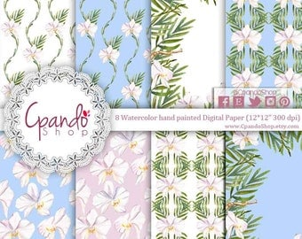 White orchid digital paper, watercolor flower digital paper, watercolor background, flower wallpaper, orchid background, wedding background