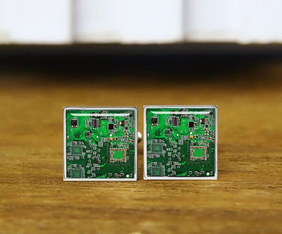 Computer Geek Circuit Board Cufflinks, green circuit board cuff links, custom wedding cufflinks, round, square cufflink, tie clips, or set