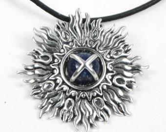 SunBurst Sterling Silver Pendant with Lapis Lazuli Center Stone - Sterling Silver Pendant or Necklace - Classy Sunburst Silver Pendant Gift