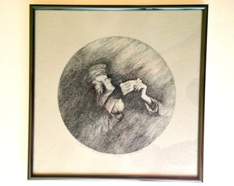 It Grows Smaller - M. Stark Framed Round Etching Old Tailor Sewing Judaica