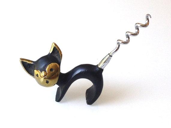 Walter Bosse Design Brass Cat Corkscrew Mid Century Modern England Retro