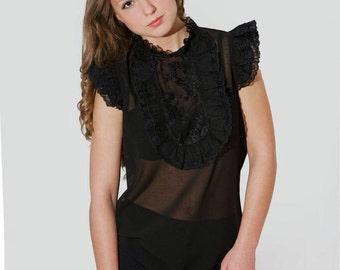 Romantic Lace Blouse, Sleeveless Shirt, Victorian Black Lace