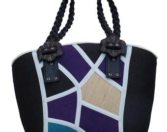 Natural Abaca Black Handbag or Shoulder Bag with Black Handle