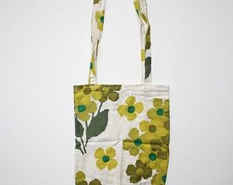 Tote bag retro floral green white