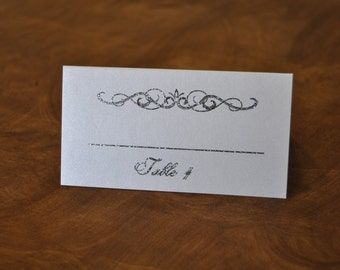 Place card silver glitter with white pearl paper (120 cards)