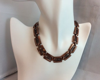 Vintage Renoir  Copper Link Choker Necklace. 1960s Mod Jewelry. Christmas Gift. Designer  Signed. Estate. Collectible. Gifts for Her