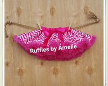 Baby Girls Hot Pink Chevron Pettiskirt Tutu. Easter Pettiskirt. Ready to ship.