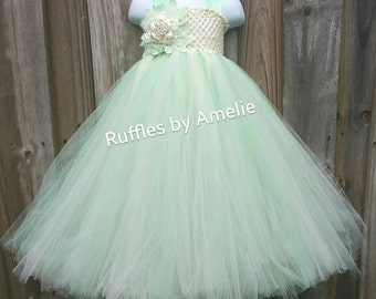 Mint and Ivory Flower Girl Tutu Dress. Flower Girl Tutu Dress.