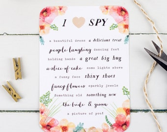 Rustic Wedding I Spy Game - Wedding Reception Game - Floral I Spy Cards - Wedding Reception Fun - Wedding Party Game - Red Floral Wedding