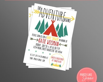 PRINTABLE Adventure Baby Shower Invitation (Customizable)