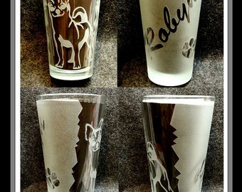 GLASSES 16oz. Any Breed Dog/Cat Engraved Personalized Etched Glass & Name,  Etched on the Glass  Price break on 2 or 4 ordered at same time.