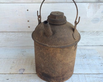 Eagle Oil Can - Kerosene Can - Gas Can - Primitive Decorations - Rustic Rusty Can- Gasoline Can - Industrial Decor - Country Primitive Decor