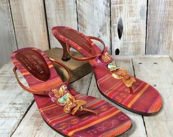 Donald J Pliner Sandals - Thong Sandals - Heel Sandals - Butterfly Sandals - Thong Heels - High Heel Sandals - Orange Red Sandals