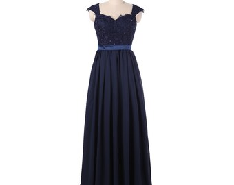 Dark navy long lace bridesmaid dress with cap sleeves a-line chiffon dress open back Grey/silver prom dress
