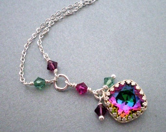 Multi-color crystal necklace, bezel set rhinestone pendant, delicate chain, bright silver, crystal dangles, emerald magenta crystal jewelry