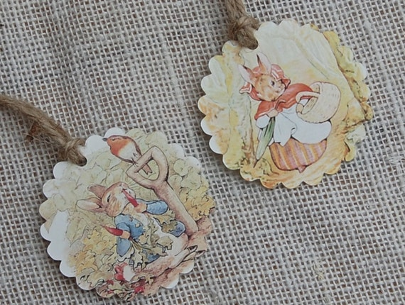 Gift Tags - Beatrix Potter, Peter Rabbit Party Favor Tags, Thank You Tags, Birthday Party Decoration, Party Bag Tags, Baby Shower Favor Tags