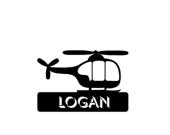Helicopter Cake Topper.  Features a Helicopter with your Name, Phrase, or Date.