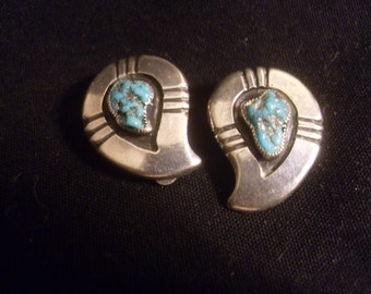 Sterling Silver Turquoise Earrings signed EOE
