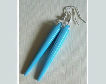 Turquoise Spike Earrings , Silver Earrings , Turquoise Earrings , Blue Earrings , Dangling Earrings , Handmade Jewelry , Punk , Rocker Gift