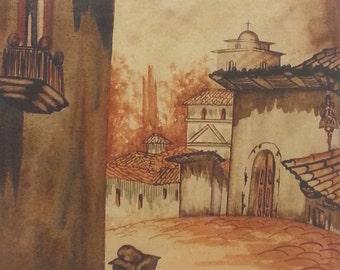 Old vintage original artist signed original watercolor painting courtyard church