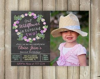 GIRLS BIRTHDAY INVITATION - Little Wildflower Birthday Invite - Girls Birthday Invitation - Floral Wreath - Chalkboard - Digital File