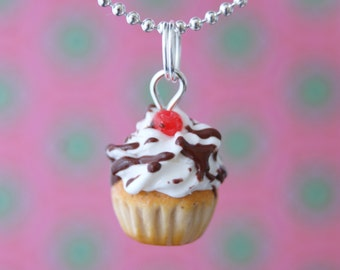 Classic Vanilla Cupcake Whipped Cream Cherry Chocolate Link Chain Necklace Polymer Clay Miniature Food Handmade