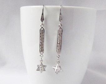 cz bar earrings, pave bar earrings, silver bar earrings, drop earrings, modern earrings, art deco earrings,