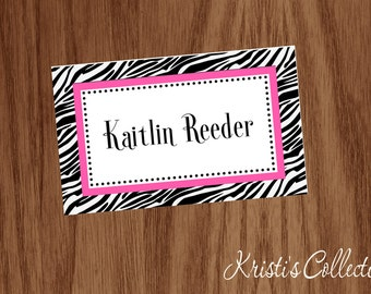 Personalized Zebra Bag Tag, Luggage Backpack Diaper Dance Cheer Bag Tag - Girls Bag Tags