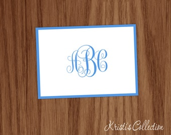 Personalized Folded Note Card Classic Monogrammed - Personal Teen Girl Mom Stationery Stationary - Custom Thank You Note Cards