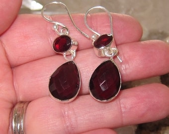 Mozambique Garnet and Sterling Silver Earrings