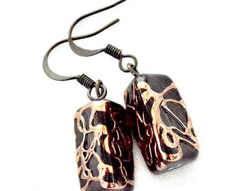 Venetian Earrings, Black  CzechGlass Earrings, Lampwork Beads Earrings, Black Triangle Earrings