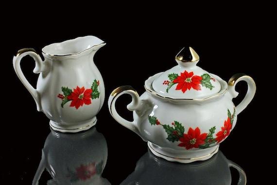 Sugar Bowl and Creamer Lefton China White Poinsettia