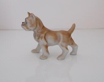 Porcelain Boxer Dog Figurine Made in Japan
