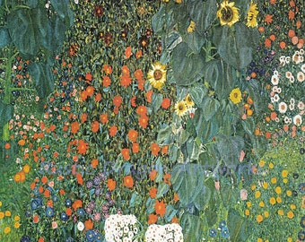 "Gustav Klimt  ""The Sunflower""  1906 Reproduction Digital Print Sunflowers Garden Flowers Wall Hanging"